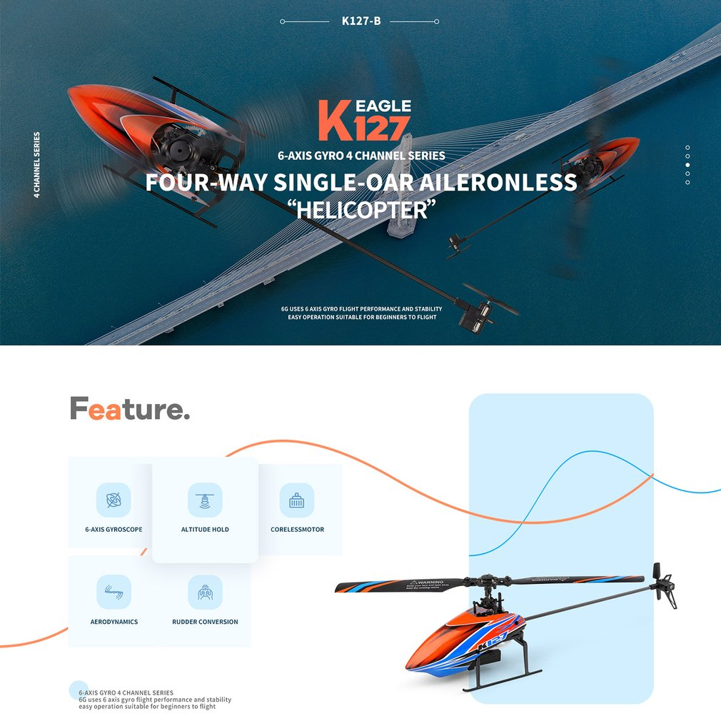 WLtDoys SSA K127 4CH RC Helicopter 6-axis Gyro Single Blade RC Aircraft Remote Control Helicopter RC Plane RTF for Beginners enlarge