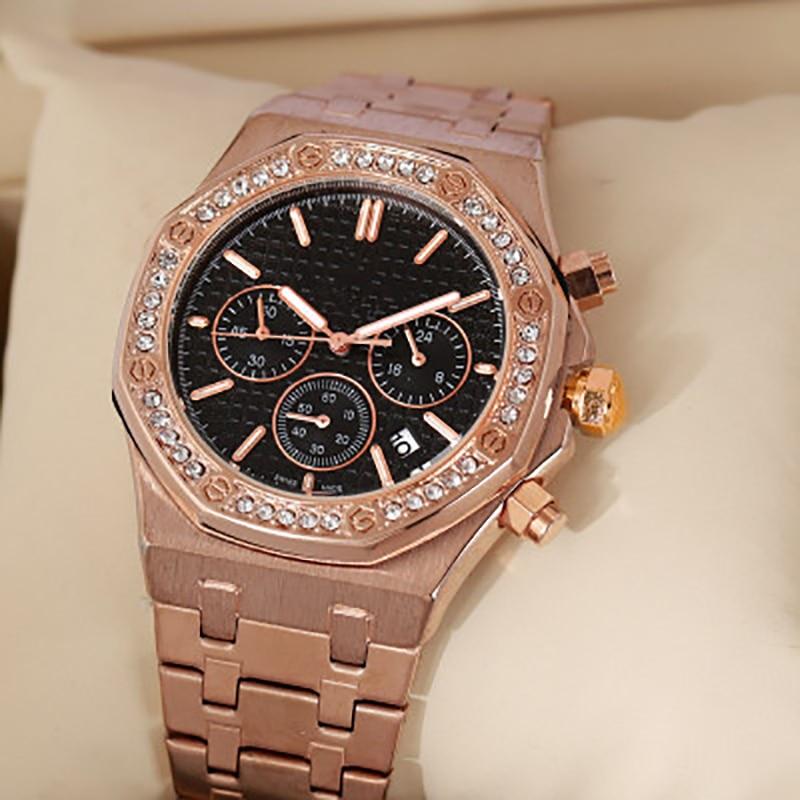 Multifunction Watch For Mens Three Eyes 6-Hands Calendar Diamonds Quartz Wristwatches Golden Busines