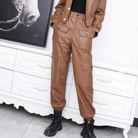 2021 factory new arrival women genuine leather pantscargo pants with big pockets