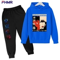 trendy faces tokyo ghoul hooded kids set anime long sleeves hoodie spring autumn clothes toddler tiny cotton sweatshirtpants