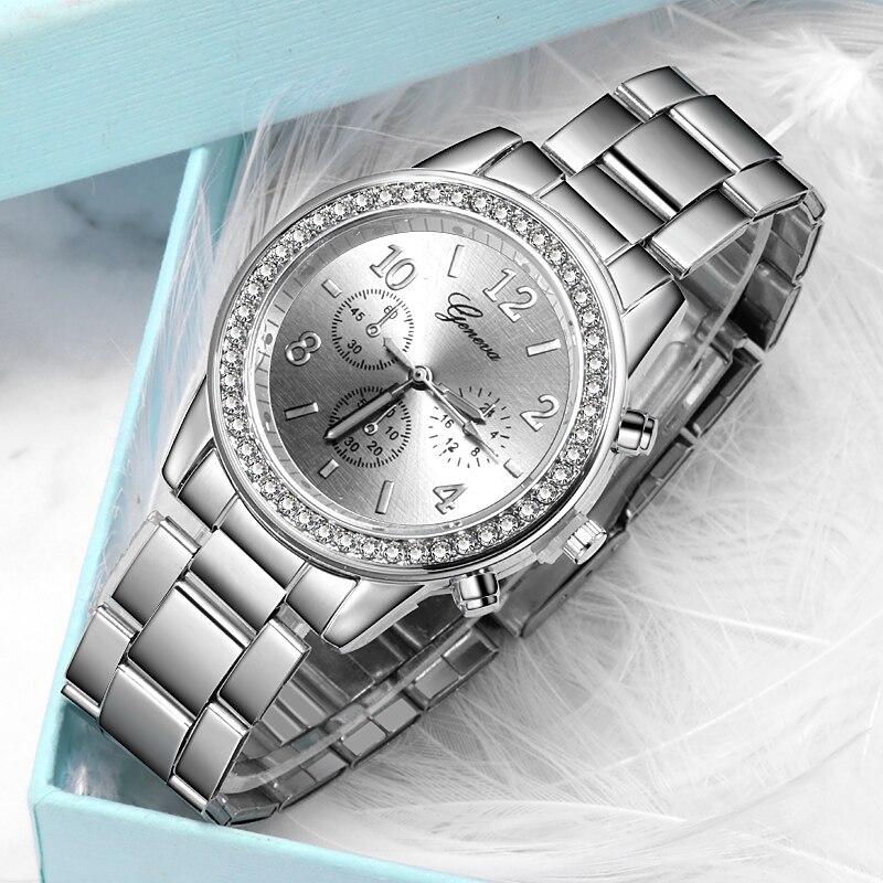 2020 relojes redondos para mujer Geneva, relojes de lujo para mujer, relojes de cuarzo para mujer, elegantes relojes de pulsera para mujer, conjunto de pulseras para mujer
