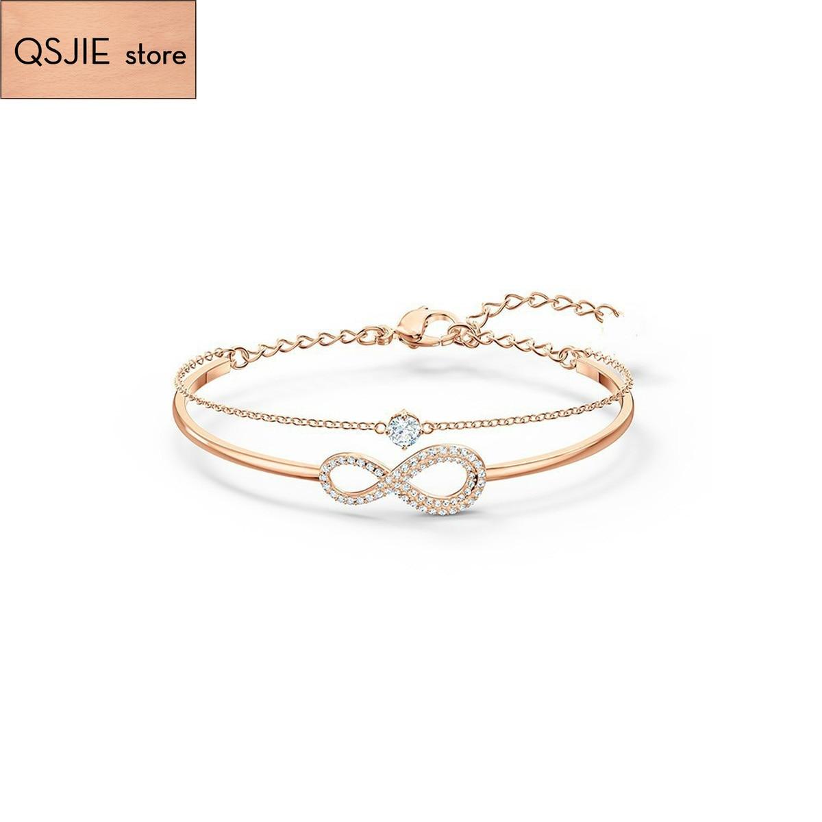 Qsjie swa de alta qualidade. Elegante amor de 8 personagens infinito amor romântico dupla camada pulseira feminina