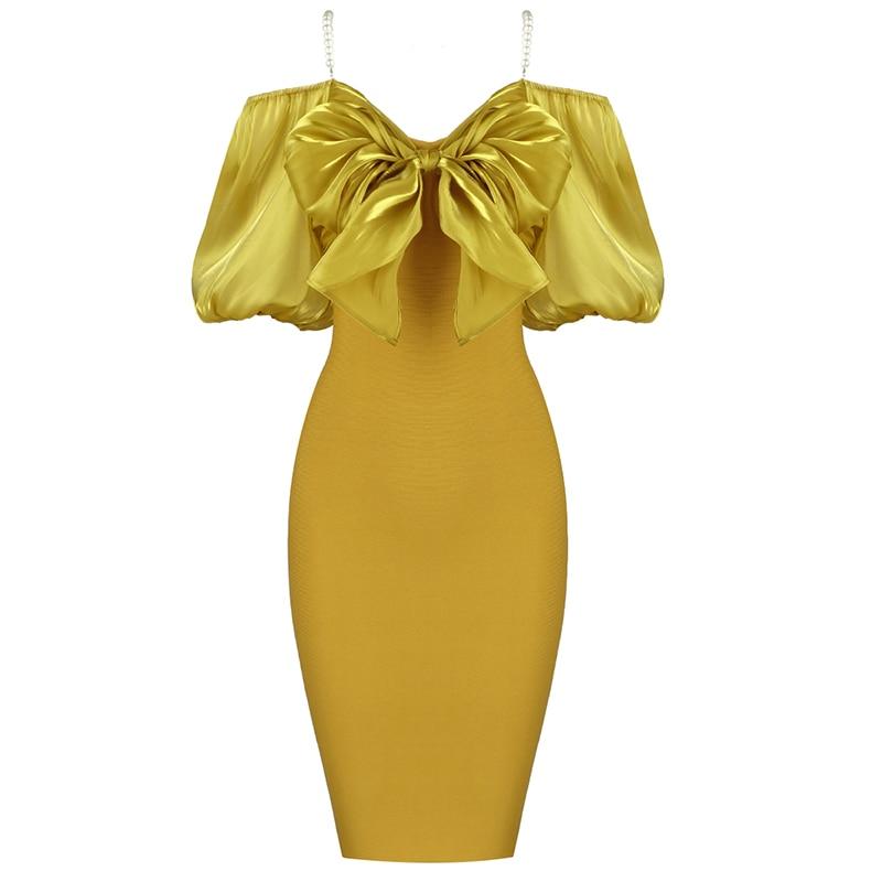 فستان ضمادة مثير للنساء ، فستان ضيق مع فيونكة زخرفية ، ملابس أنيقة للحفلات والمشاهير ، جديد ، ياقة على شكل V