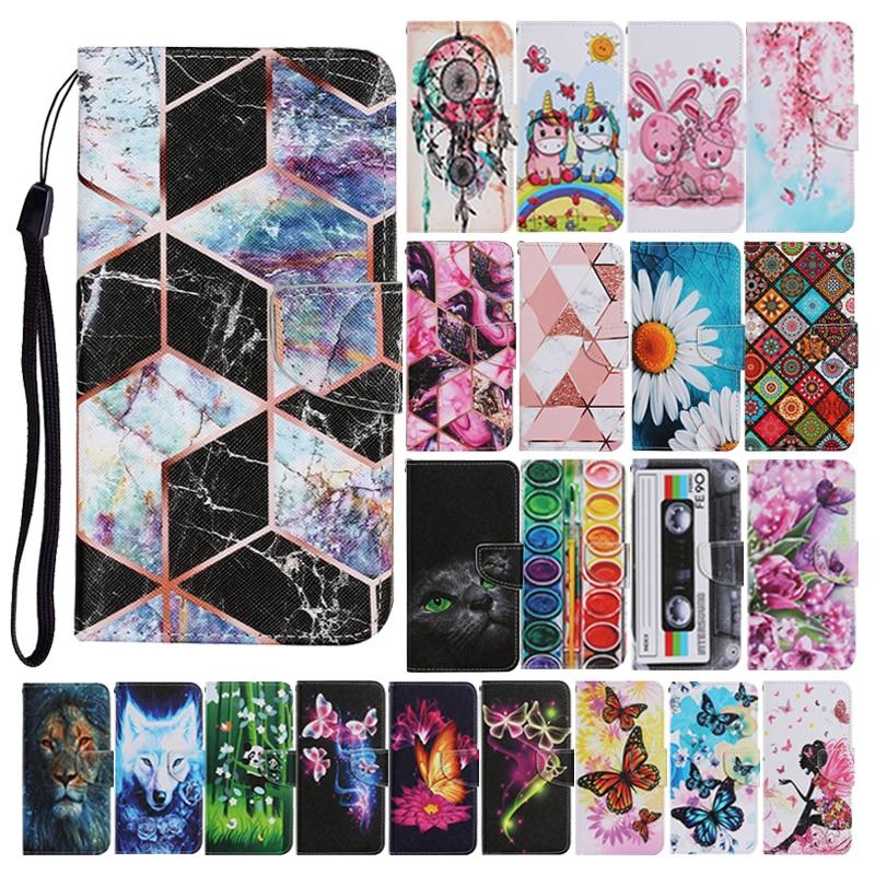 Capa para iphone 12 11 pro max 8 7 plus se 2020 couro flip suporte telefone capa borboleta bonito unicórnio leão panda flor capa