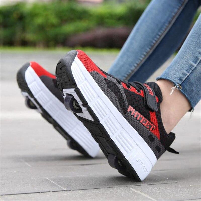 الكبار الأطفال زلاجات دوارة أحذية رياضية الرجال مع عجلة واحدة و بكرات عجلة مزدوجة أحذية تزلج أحذية التنس حذاء المشي