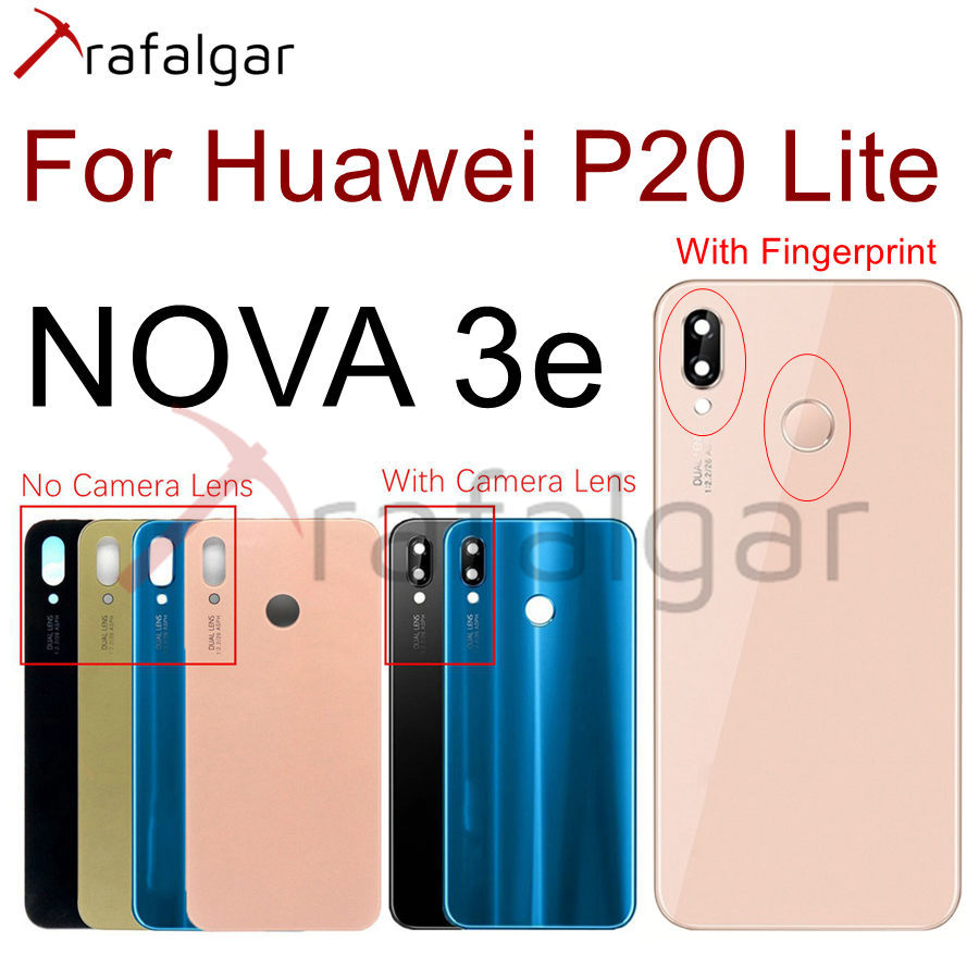 Для Huawei P20 Lite Задняя стеклянная крышка батарейный корпус панель заднее окно для Huawei P20 Lite задняя крышка с объективом камеры