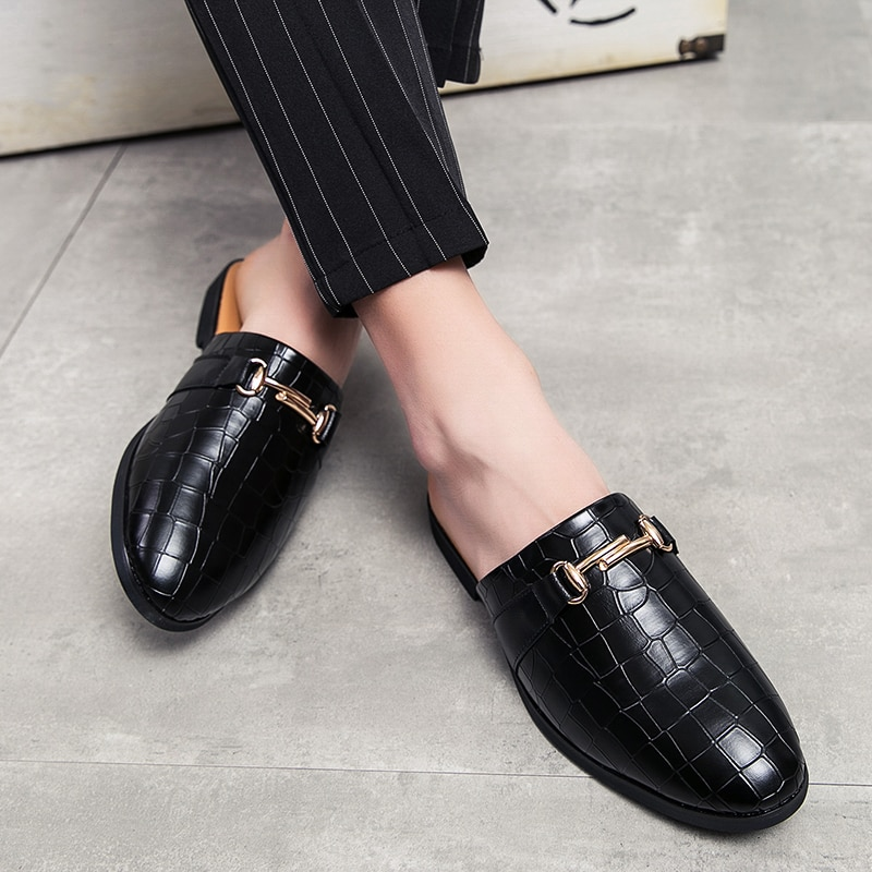 Black Half Shoes For Men Leather Mules Casual Fashion Sapato Social Masculino Mocassin Homme Chaussure 2020