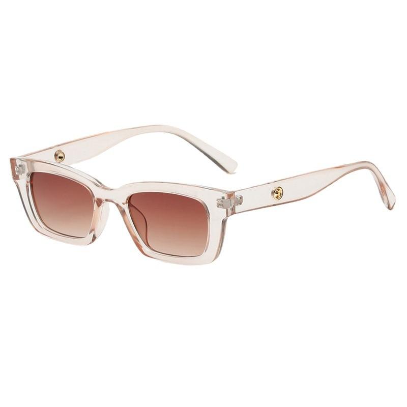 2021 New Fashion Women Sunglasses Rectangle Vintage Champagne Sunglasses Brand Designer Eyeglass Fem