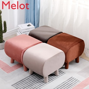 Nordic Household Solid Wood Square Stool Shoe Change Stool Flannel Fabric Rounded Design Load-bearing 200 Kg Kids Furniture
