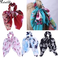 sweet girls floral printing big bow cloth rubber bands baby safe elastic hair bands ponytail holder kids hair accessories gift
