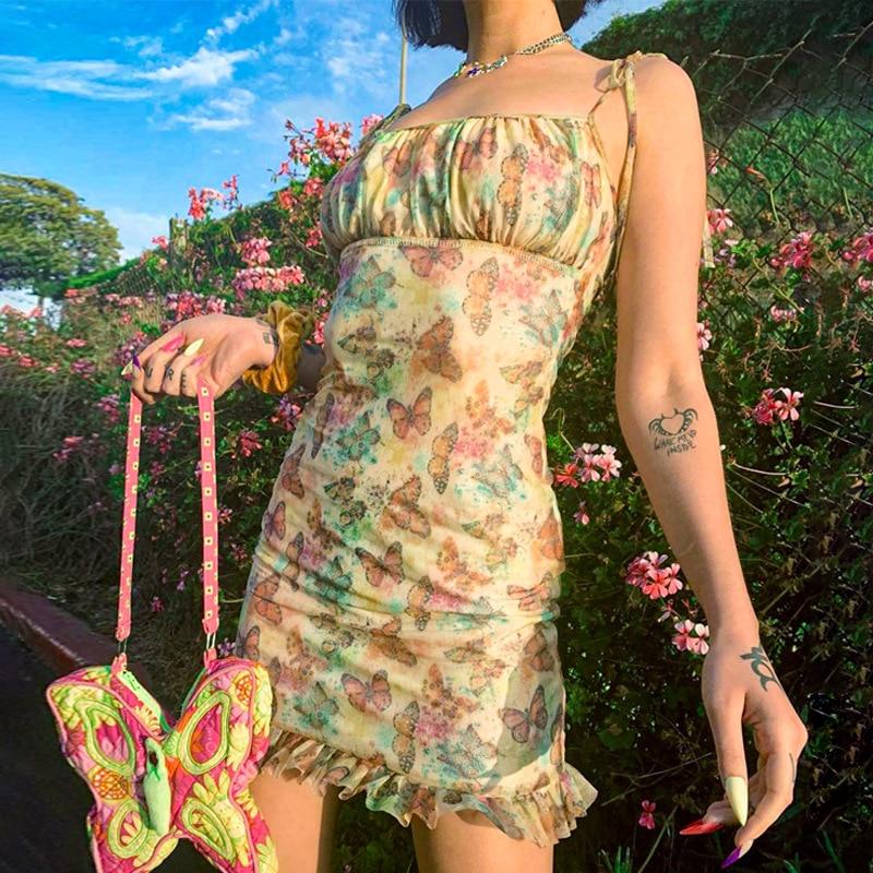 Dresses Summer Woman 2021 New Butterfly Print Halter Dress Beach Breeze Tight Short Elegant Holiday and Leisure Ruffles Dress
