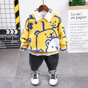 Boys Clothing Sets 2020 Autumn Brand New Fashion Costume Cartoon sweater + shirt + jeans 3PCS Casual boys Sports Set Outfits