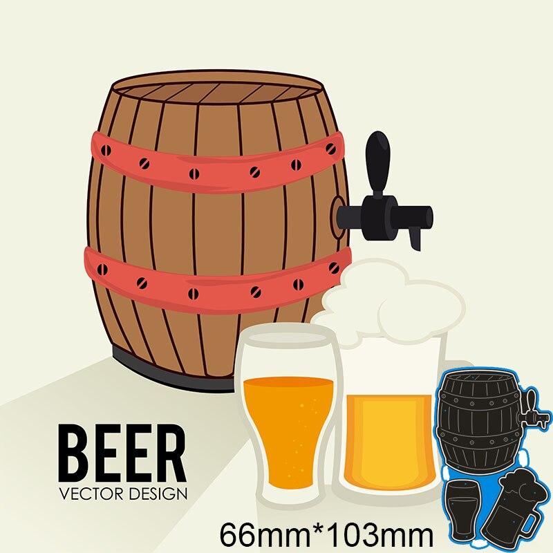 66*103mm cerveza barril y jarra de cerveza nuevos troqueles de corte de Metal para tarjeta DIY Plantilla de colección de recortes papel artesanal álbum plantilla muere