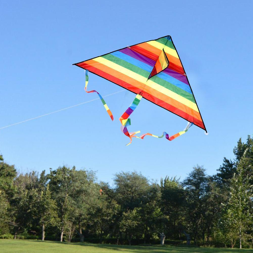 1 Set Rainbow Kite Kids DIY Toys Long Tail Outdoor Kites Flying Parent-Child Game Stunt Surf Control Line Pigment Xmas Gift