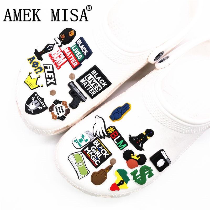 Black Girl Magic Shoe Charms Accessories Black Lives Matter BGM BLM Dollar Shoe Decoration for croc