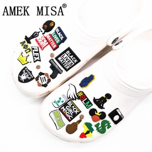 Black Girl Magic Shoe Charms Accessories Black Lives Matter BGM BLM Dollar Shoe Decoration for croc jibz Kids Party X-mas Gifts