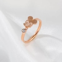 disney mickey ring female simple trendy fashion personality design double index finger ring bracelet accessories rose gold