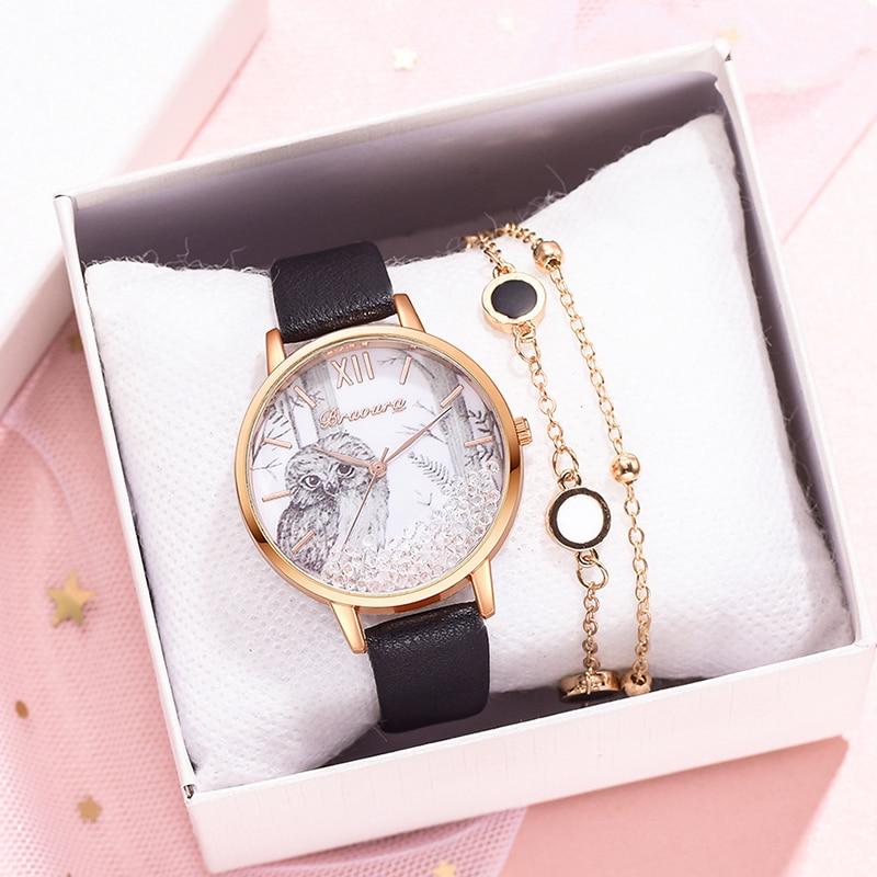 Часы Bravura женские кварцевые, брендовые модные съемные наручные, с совой, черные