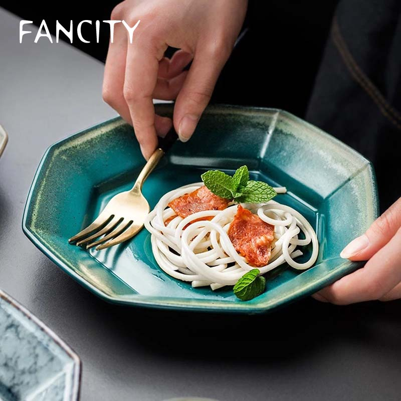 FANCITY-طبق خزفي مثمن على الطريقة اليابانية ، طبق سلطة ، 8 بوصة ، فرن عتيق ، للمنزل