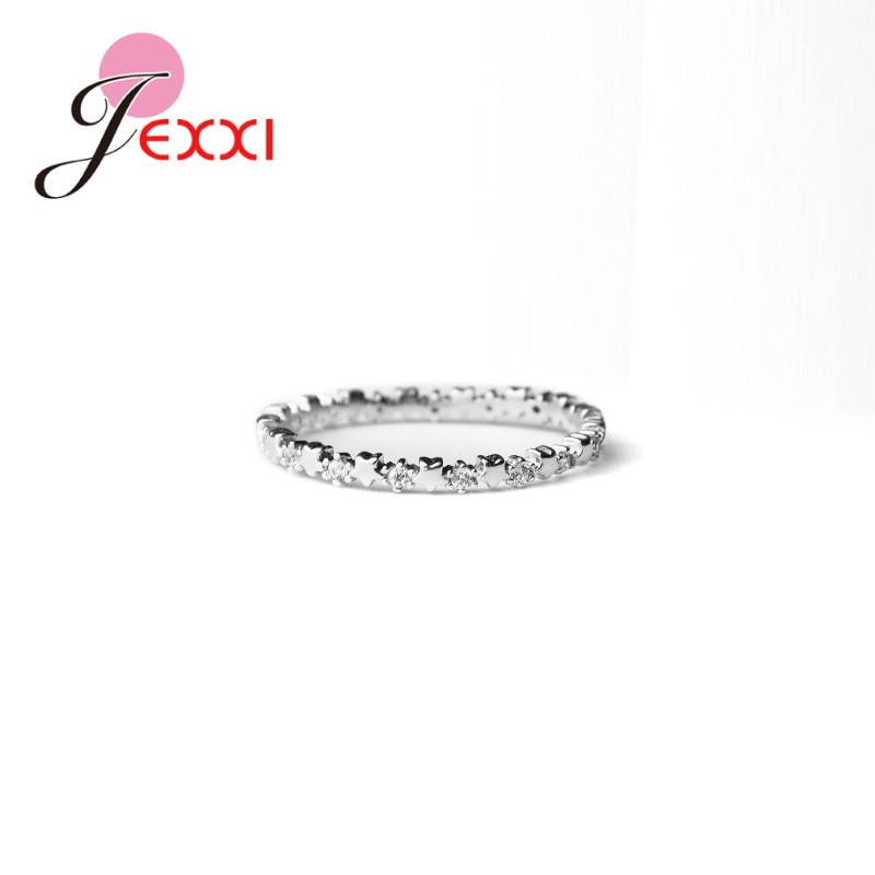 Luxury Delicate Solid 925 Sterling Silver Stars Finger Ring Authentic Clear Zirconia Jewelry For Women Wedding Gift