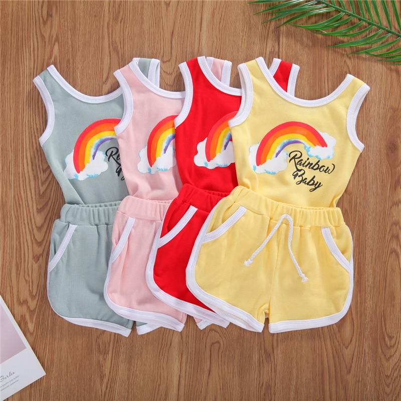 2020 da criança do bebê roupas de verão conjuntos recém-nascidos meninos meninas sem mangas arco-íris impressão macacão + shorts roupas algodão
