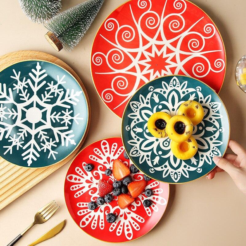 طبق سيراميك المنزل الإبداعية ins صافي لوحة حمراء الشمال المزجج تحت أطباق جديدة من شريحة لحم