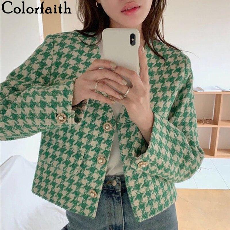 Colorfaith-سترة نسائية قصيرة ، عتيقة ، مربعات ، مربعات ، موضة ، ربيع وخريف 2021 ، JK1068