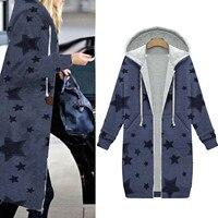 Женская теплая хлопковая куртка, пальто с капюшоном, темно-синий плюшевый кардиган на молнии с принтом звезд, с глубокими карманами, пальто ...