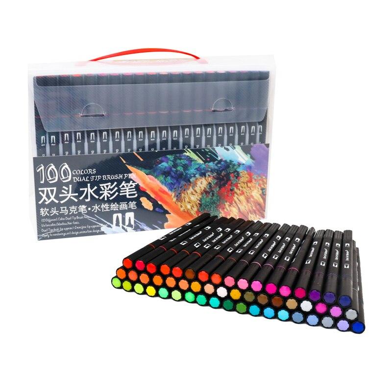 Conjunto de canetas aquarela para desenho e pintura, ponta de feltro profissional, conjunto de canetas de ponta dupla para escola, 100 cores
