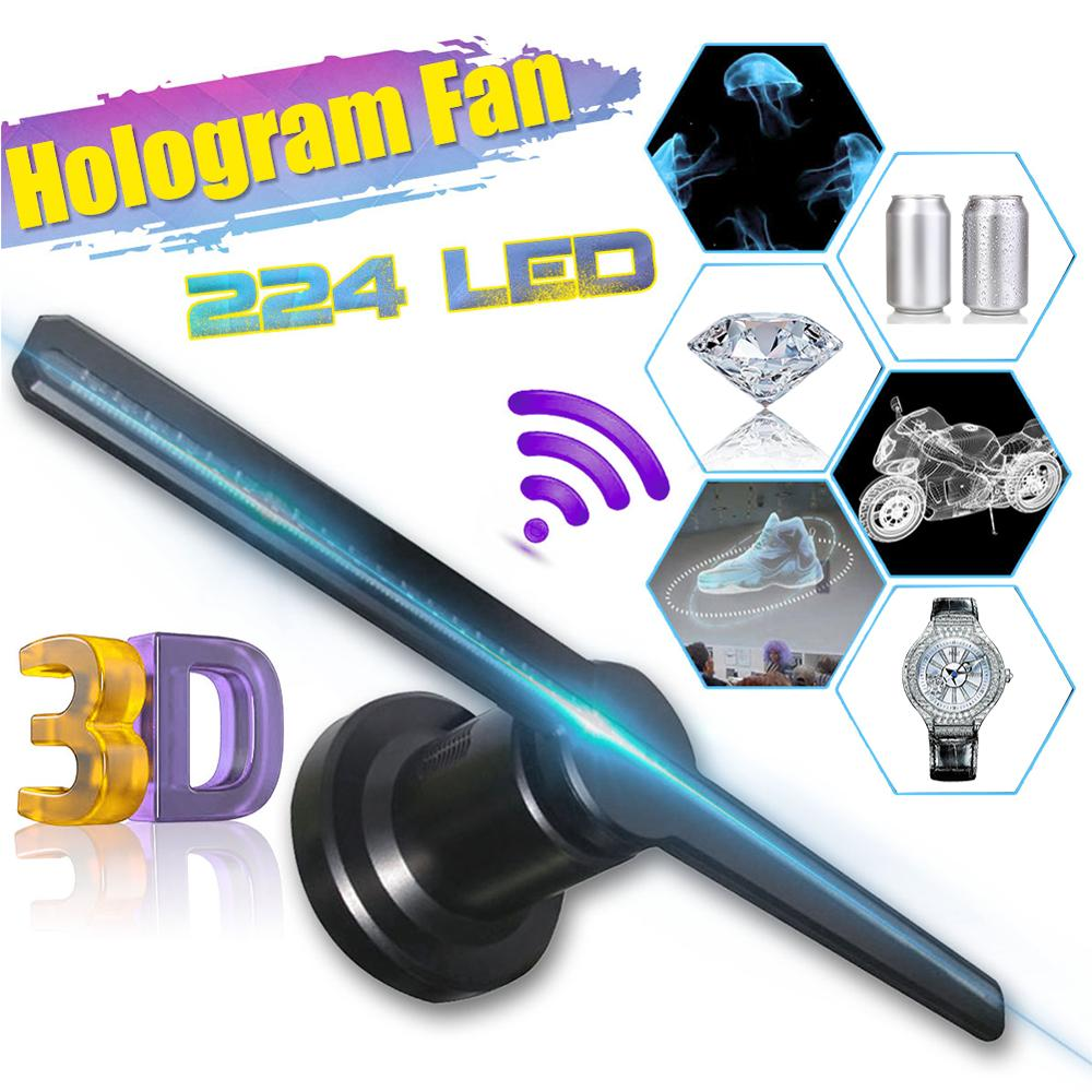 224 LED Fan Holographic Imaging Lamp 3D Wifi Remote Hologram Player 3D Fan Hologram Projector Light Advertising Display