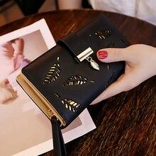 Purse Card Holders Clutch Women Wallet PU Leather Purse Female Long Wallet Gold Hollow Leaves Pouch