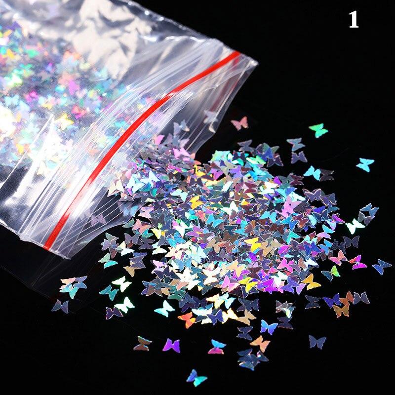 3D Nail Glitter Shiny Butterfly Sequins Foil Nail Sequins DIY Art Mix Color Nail Art Flakes 1 Bag Nail Sequins Decoration