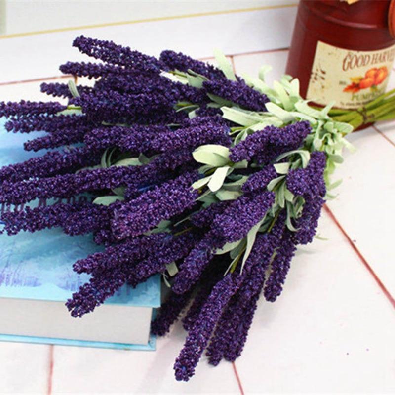 Nueva moda 1 Uds púrpura 12 cabezas lavanda vívida ramo de flores artificiales para la decoración del jardín de la boda del hogar
