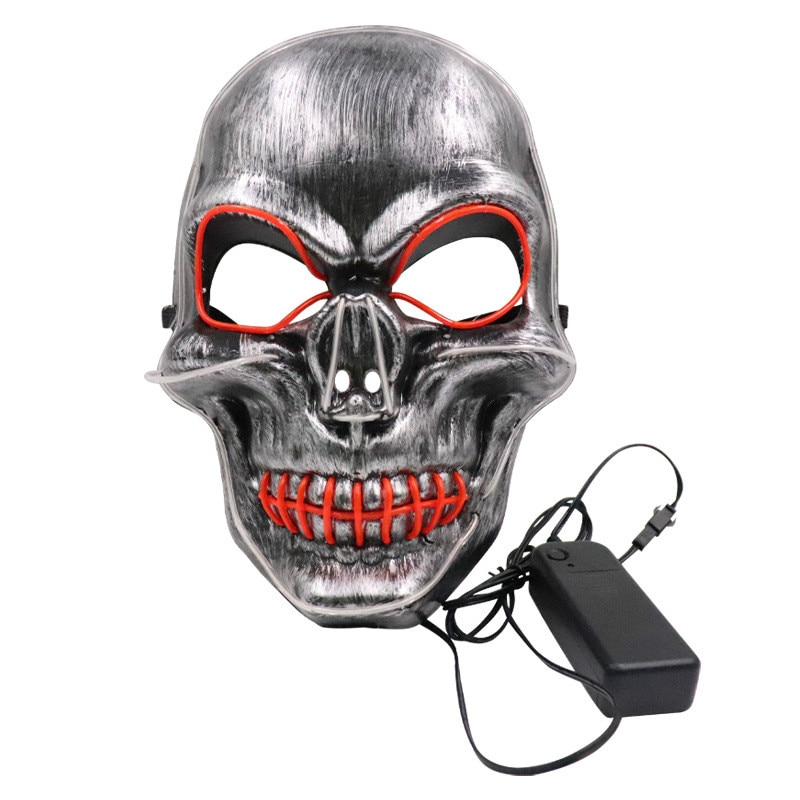 Halloween LED Luminous Mask Cold Light Horror Grimace Skull Metal Party Bar Party Performance Props halloween