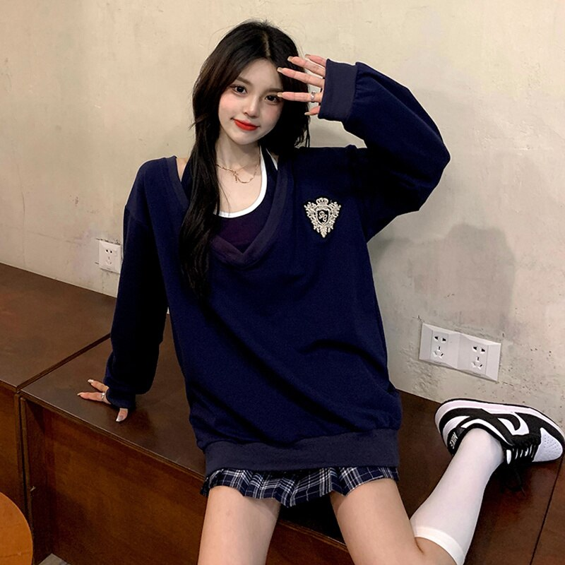 Women's Hooodie Spring And Autumn Thin 2021 New V-neck Two-piece Set American Coat Design Sense Of M