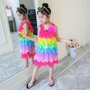 Girls Beach Dress Children's Wear Yarn Dress Girl New Summer Dress Girl Kids Princess Dress Baby Girls Sling Rainbow Beach Dress