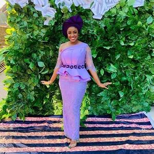 Evening Dress Lace Sleeve Illusion Long Evening Dresses Lilac Beaded robe de soiree Peplum Nigerian Party Dress Sheer