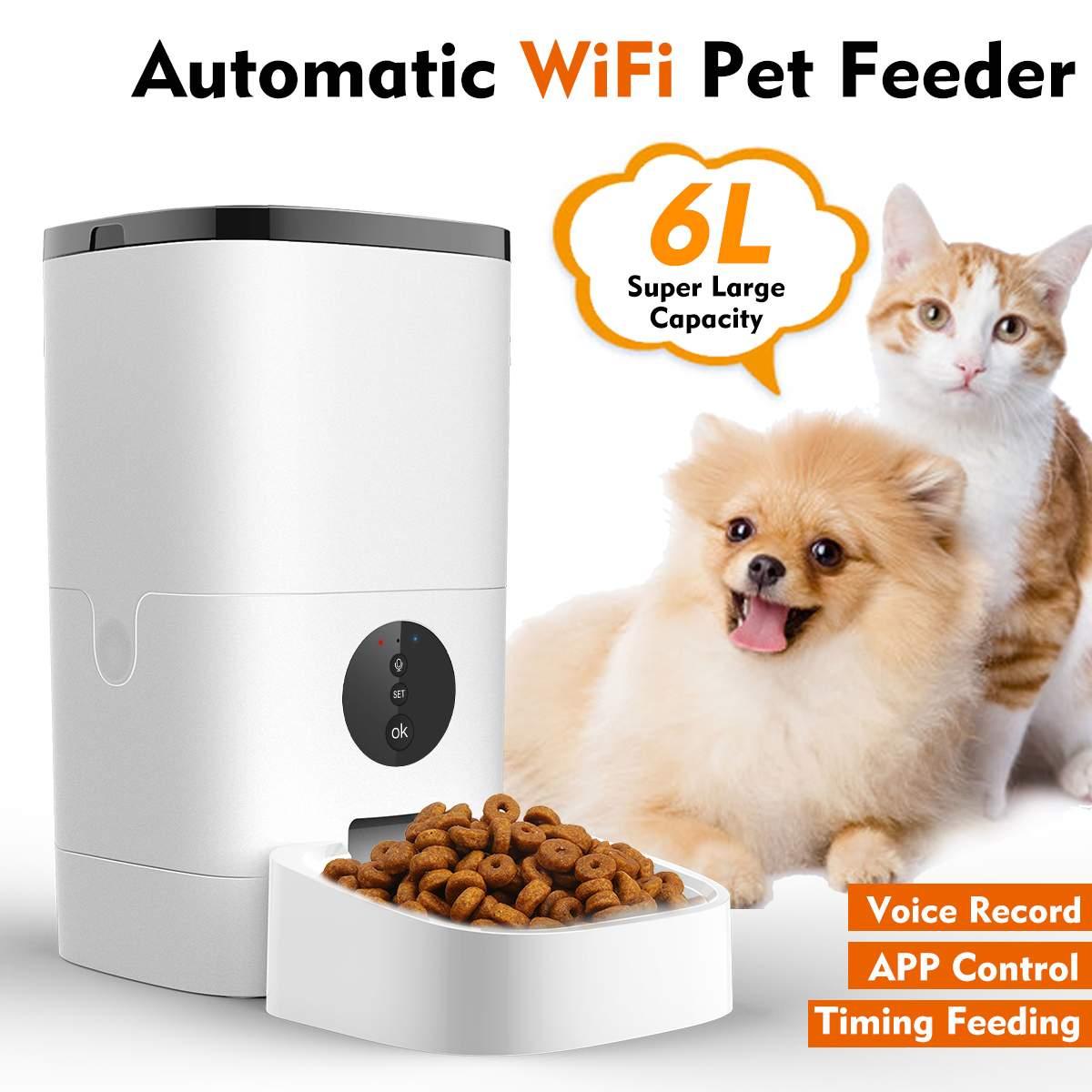 Control remoto inteligente, dispensador automático inteligente de comida para perros y gatos, grabador de voz de 4 comidas, temporizador, Alimentador automático para mascotas con recargable
