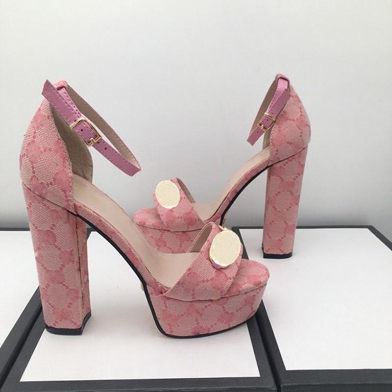 Fashion sandals summer women Shoe Buckle Strap heeled Platform Slides chunky Heel Rubber sole Black womens Shoes High quality