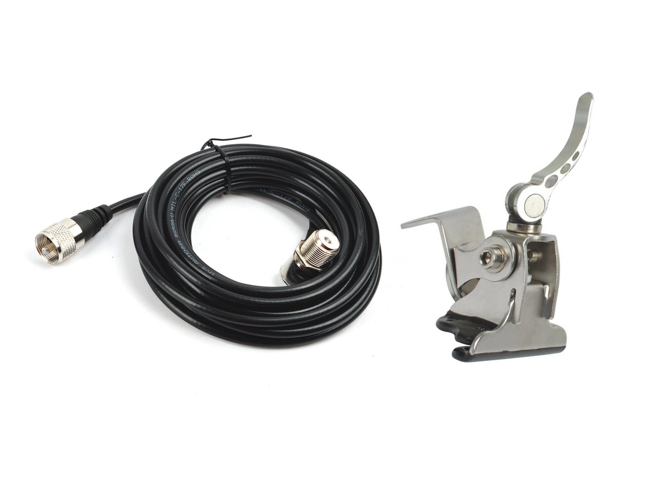 HYS Car Clip Mount tapa del maletero soporte de portón trasero ángulo + SO239 a PL-259 conector 5M RG-58 Cable Coaxial para la Radio móvil del coche