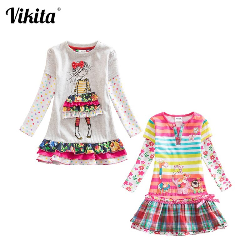 VIKITA Kleider für Mädchen Baumwolle Kinder Blume Drucken Kleid Kinder Baby Kleider Lange Hülse O-ansatz Mädchen Kleider 2 teil/los F5061 mischen