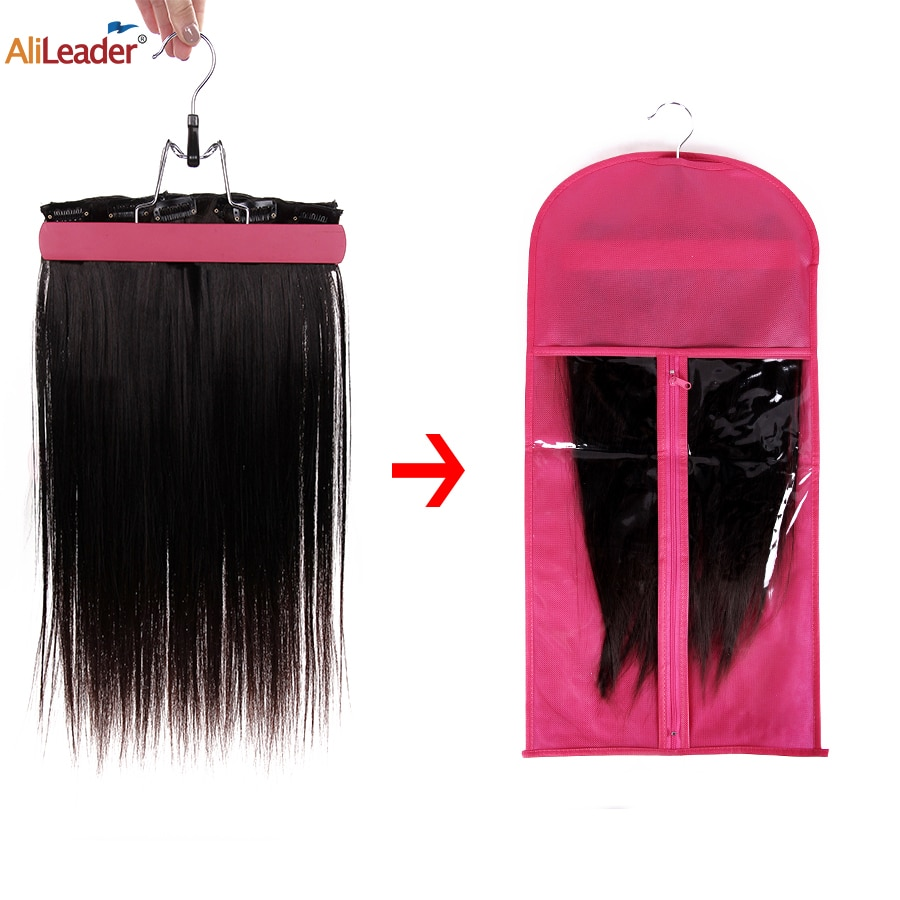 Alileader Black Pink Storage Of Wigs Bag With Hanger Holder For Wig Hairpiece Accessories Hair Tool Non-Woven Fabric Transparent