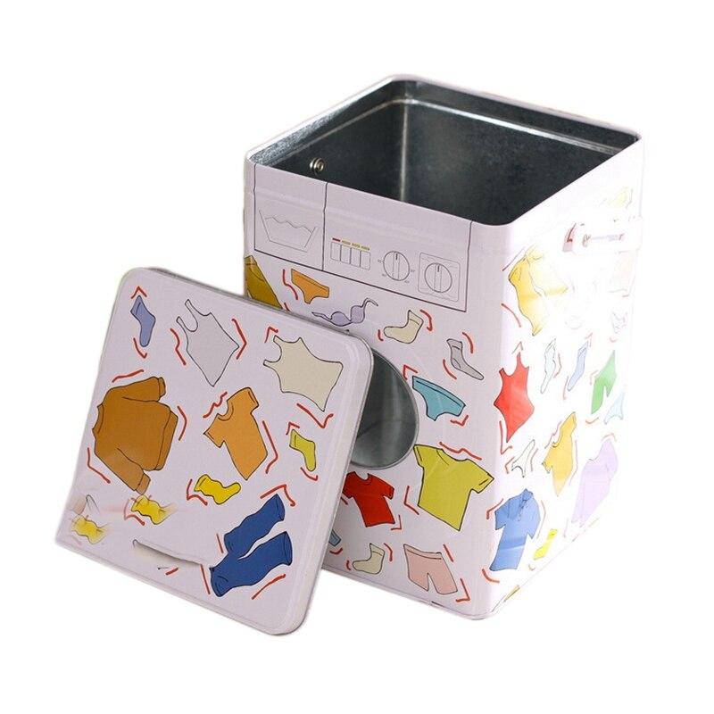 Caja de hierro para lavadora de Color, caja para detergente en polvo portátil, lata de hierro, caja de almacenamiento, Cubo de almacenamiento, prevención de óxido