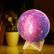 Galaxy 3D Moon Lamp LED Round Atmosphere Light Colorful Changeable USB Charging Tap Remote Touch Con