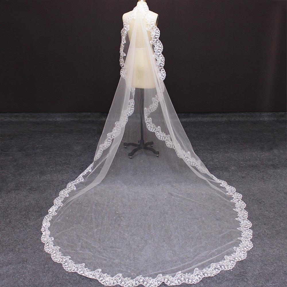 Velo de novia catedral con borde de encaje 3 metros de largo velo de novia con peine nuevo elegante blanco marfil 300cm velo accesorios de boda