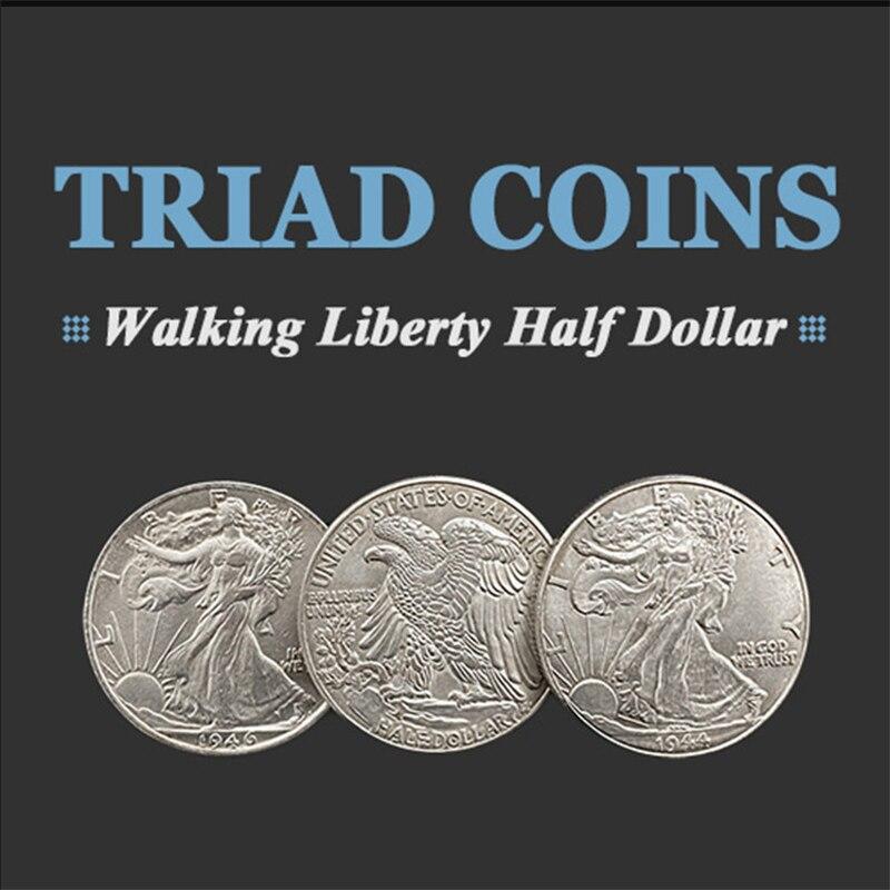 Triad Coins (Walking Liberty Half Dollar Gimmick) Magic Tricks Stage Close Up Produce Vanish Change Three Coin Magia Gimmick недорого