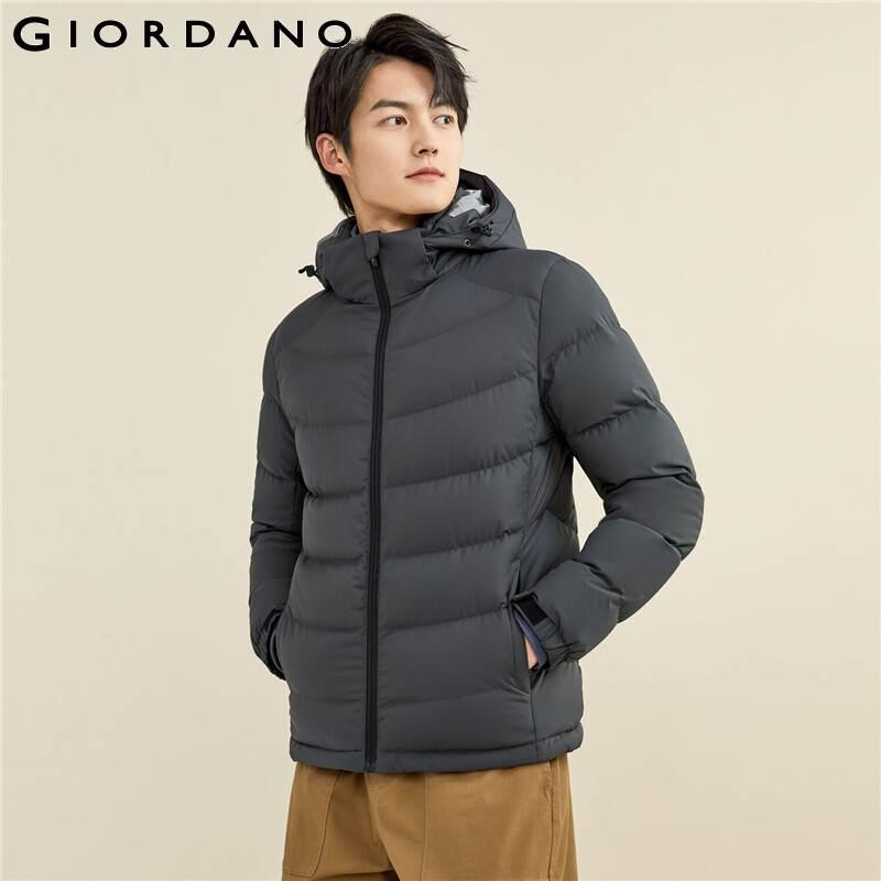 Giordano Men Donw Coat Detachable Hood 90% White Goose Down Jacket Waterproof Pockets Short Down Coats 01071692