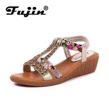 Fujin 2021 sandales à talons compensés chaussures été femmes cale plate-forme talon strass plage Slip bascule plage Bling Bling Ins chaussures