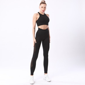 Fitness Clothing 2 Piece Yoga Suits Crop Top high waist breathable strethy Leggings Sports Bra Seamless Women workout clothing