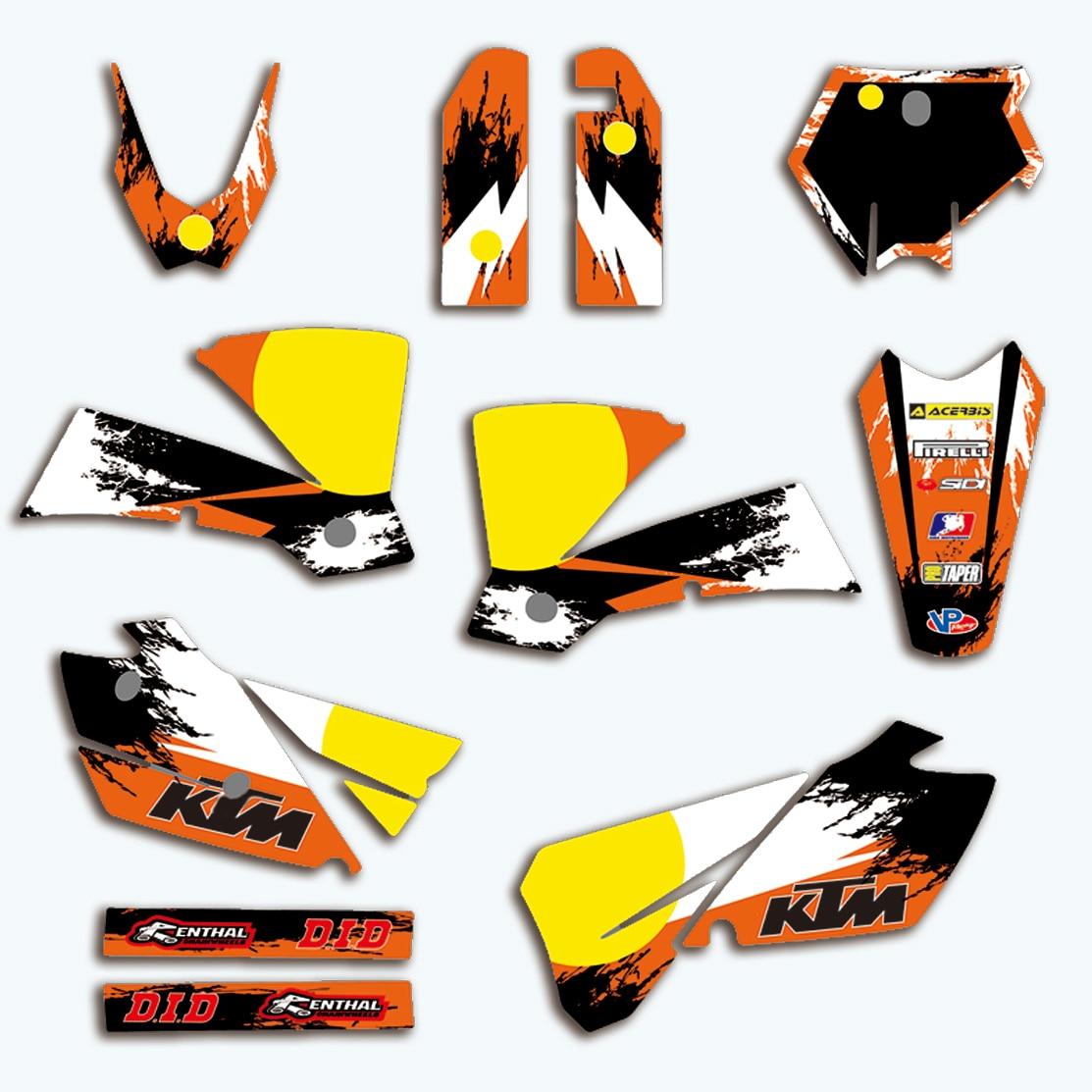Adesivo decalque Da Motocicleta Para KTM SX 125 150 200 250 300 350 400 450 525 2003 2004 Gráficos Fundos Adesivos Acessórios